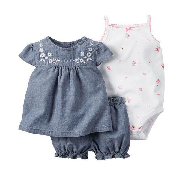 Baby Sets 2016 Summer New Style Retail Clothing Set Girls Bodysuits+Short+T-shirt 3pcs Undershirt Shorts Kids Clothes Sets V20