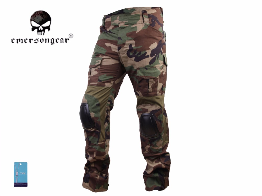 Men Military Airsoft bdu Pants Combat Emerson G3 Tactical Pants with Knee Pad Woodland EM7044