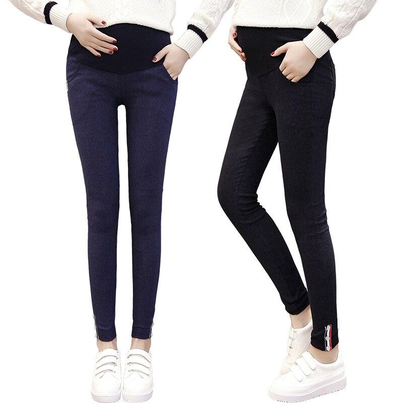 fa84f5b9437dba Pengpious pregnant women autumn and winter fashion denim pencil pants side  button slim hem high waist