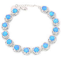 Wholesale Retail Fashion 7 Inches Fine Blue White Fire Opal Bracelet 925 Sterling Sliver Jewelry For