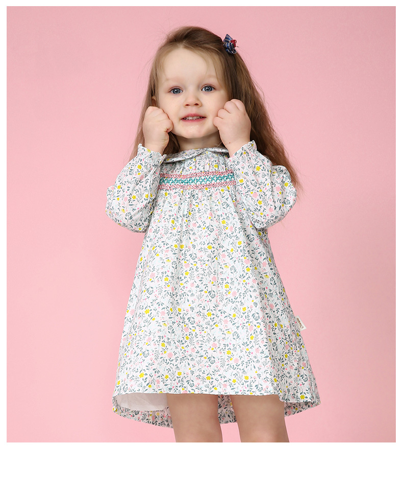3984e9b8e3d34 US $13.1 |Spring Autumn Baby Girl Smocked Dress Little Girl Princess Print  Flower Dresses For Party Wedding TuTu Dress Baby Kids Clothes-in Dresses ...