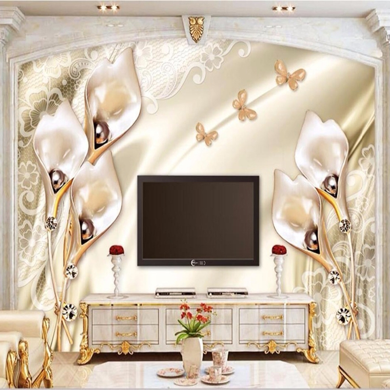 Custom 3D Wallpaper European Style Relief Champagne Tulip Jewelry Photo Wall Murals Living Room Theme Hotel Luxury 3D Decor Wall