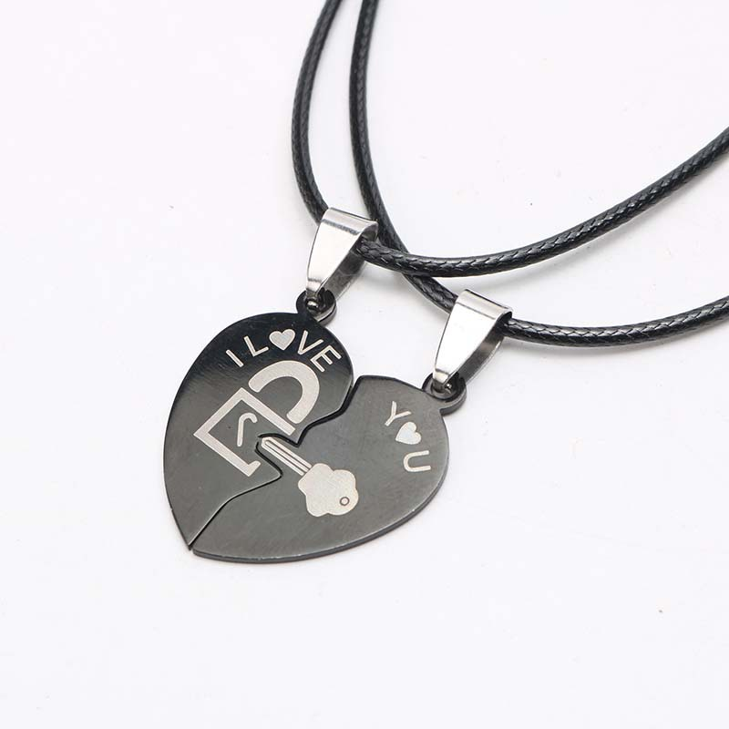 Couple Necklace Pendent Two Halves Heart Shaped Puzzle Lover Paired Necklaces