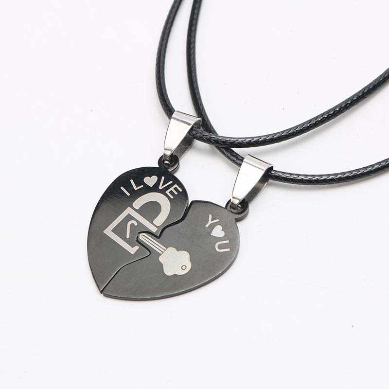Fashion Couple Necklace Two Halves of Heart Splicing Pendant Black Love Key and Lock Men and Women Love Heart Necklaces
