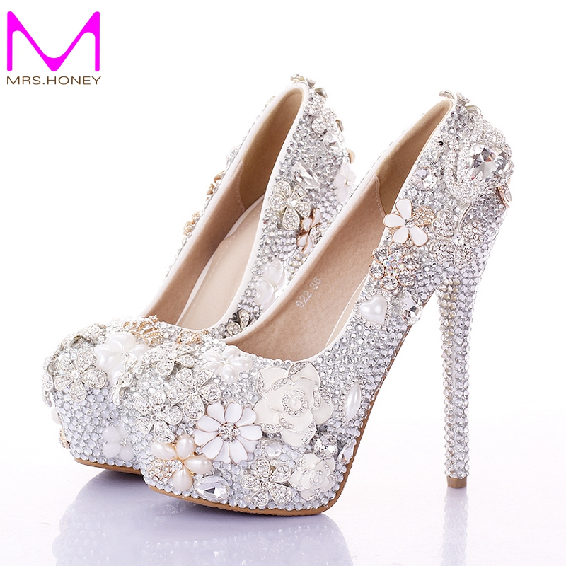 Buy 2016 gorgeous wedding shoes round toe for Heels for wedding dress