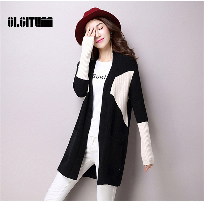 2017 winter new women loose sweater long section spell pocket color cardigan sweater coat large size