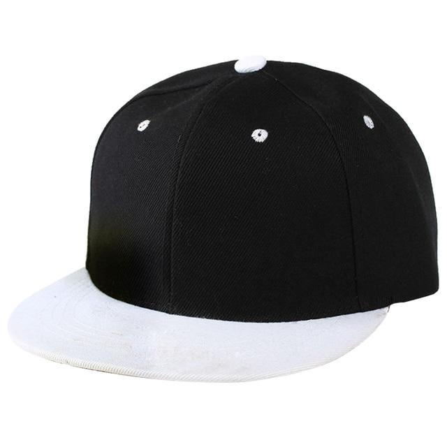 Plain Snapback Hat Caps Flat Peak Funky Retro Baseball Cap Hip Hop Hats  Vintage Black White 2aef7f8b7a3