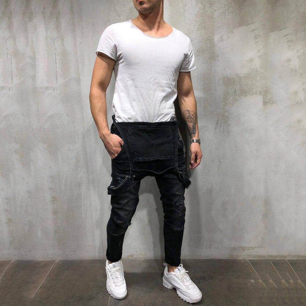 Men's Overall Casual Jumpsuit   Jeans   Wash Broken Pocket Trousers Suspender Pants c0228