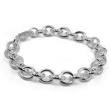 Simple 9MM20cm silver chain bracelet for men. Fashion classic solid 925 silver bracelet. Glamour woman sterling silver jewelry