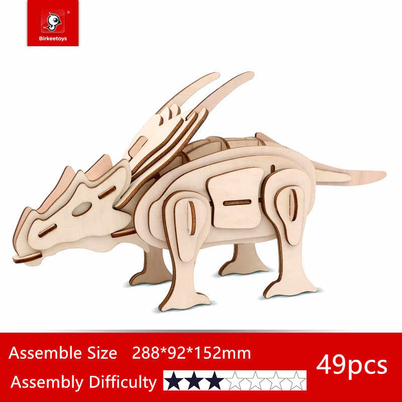 Фигурки в сборке строительные наборы Деревянные 3D головоломки динозавры модель игрушки для детей подростков взрослых DIY обучающие тираннозавры