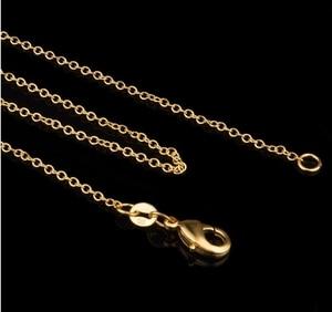 Оптовая цена, цепочка, 20 шт./лот, желтая цепочка, ожерелье, 1 мм, 18 дюймов, Роло, цепочка для подвески, оптовая продажа, Ювелирная фурнитура для ...