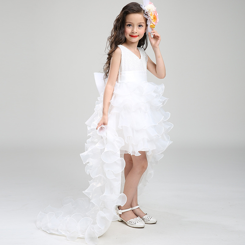 Dress New Summer Children Princess Flower Wedding Formal Evening Dresses For S Costume Tail Detachable Gdr215 In From Mother Kids
