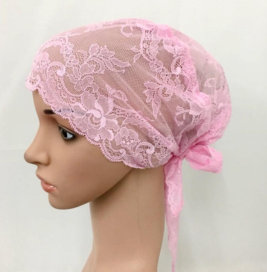 12 PCS Fashion Women Muslim Inner Cap  Lace Flower Hijab Islamic Headwear   Hat Wraps 7