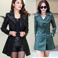 Autumn Winter Fashion Women Slim Large Size Motor Wind England Style Leisure Leather Coats Jackets