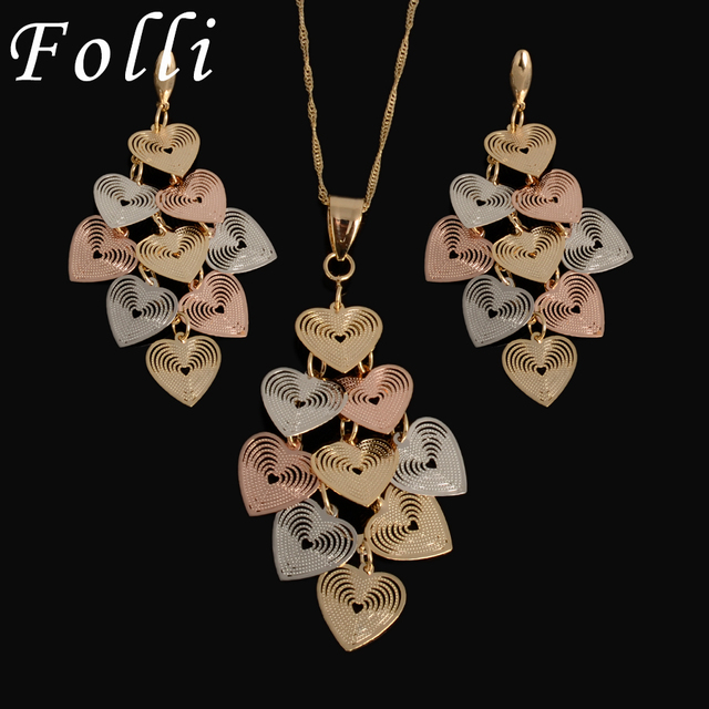2017 New Latest Charming Dubai Silver Rose Gold Plated Jewelry Sets