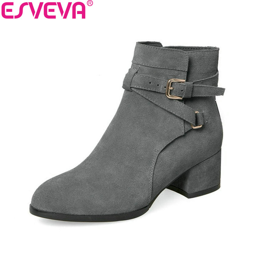 ESVEVA 2018 Women Boots Buckle Chunky Round Toe Square High Heels Ankle Boots Short Plush Western Style Ladies Boots Size 34-39 esveva 2018 winter women boots over knee high boots real leather scrub boots square heels short plush ladies boots size 34 39
