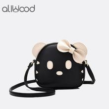 bda17ddc324c 2017 New Women Bags Cute Hello Kitty Shoulder Messenger Bags Kawaii Mini Bag  Kt Cat Female Handbags Bow tie lady Crossbody Bags