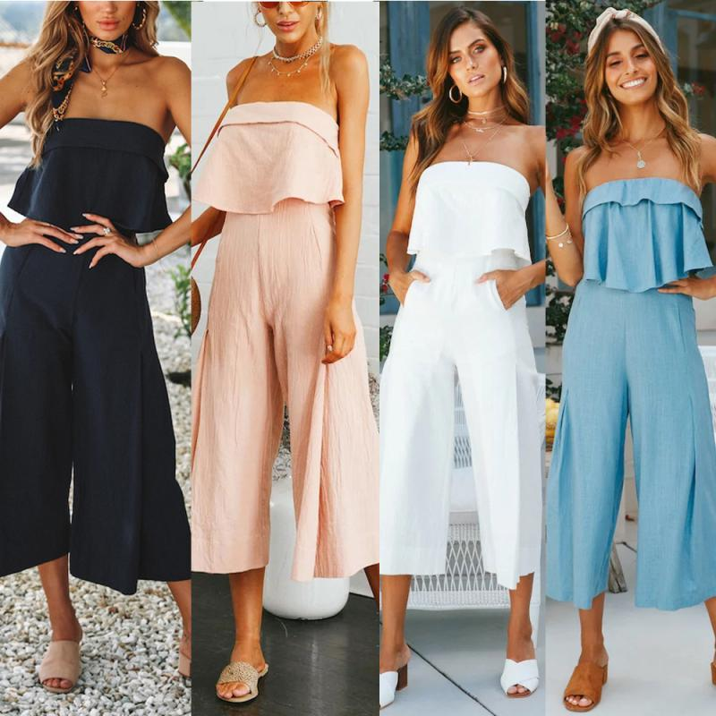 Hot sale Women Summer rompers jumpsuit Lady Strappy Soild White Trouser Playsuits Jumpsuit Rompers Holiday Feminina sundress #TH