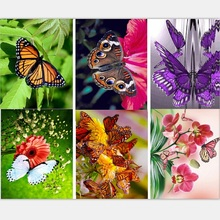 5D needlework DIY diamond embroidery flowers with butterfly Pictures Full mosaic resin round Rhinestone painting patterns