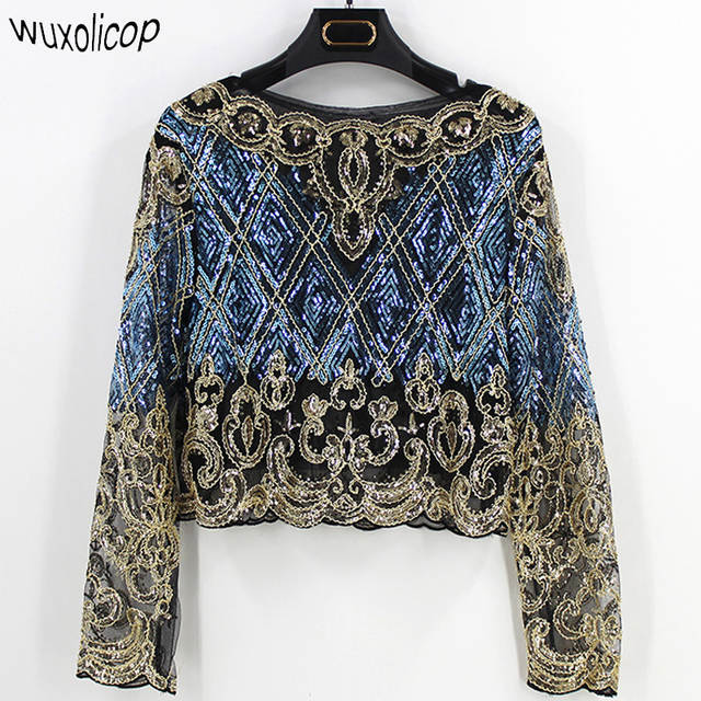 Online Shop 2018 Bling Sheer Body Crop Top Blusas Feminina Lace Mesh Long  Sleeve Floral Embroidery Sequin Beading Women Shirt Blouse Top  b21903dafc05