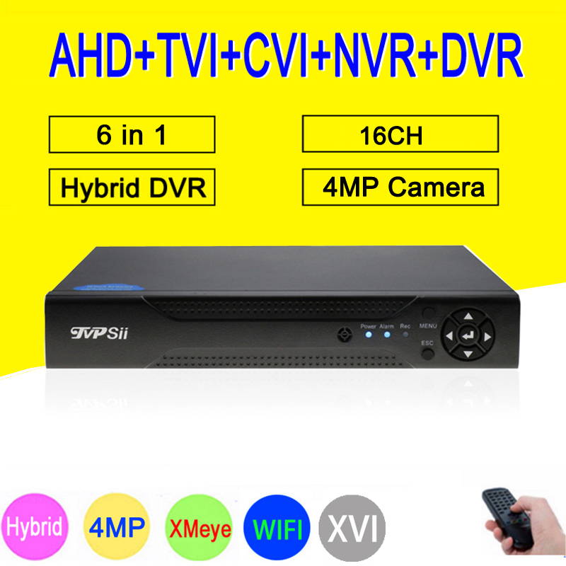 XMeye Hi3531A H264 + 4MP 16CH 16 Canal 6 dans 1 Hybride Coaxial WIFI TVi CVI NVR AHD CCTV DVR surveillance Vidéo Recoder