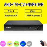 Xmeye hi3531a H264 + 4mp 16ch 16 канала 6 в 1 Гибридный коаксиальный WI FI ONVIF TVI CVI IP NVR AHD видеонаблюдения DVR Бесплатная доставка Видеорегистратор наблюдения