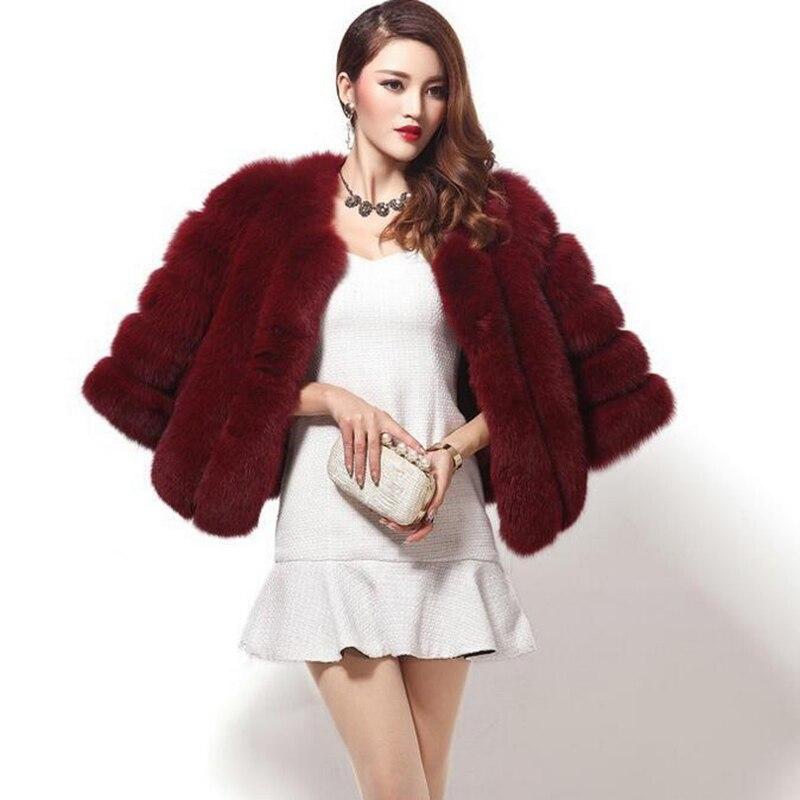 22101294f57e2 Vestes Wine D hiver Renard gris Chaquetas Red Élégant Fourrure Manteaux  blanc Dames Faux Élégante Mujer Punto Femmes rose ...