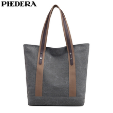 PHEDERA New Female Casual Bags Simple Canvas Women Shoulder Bag Outdoor Travel Handbags Gray Burgundy Black Purse