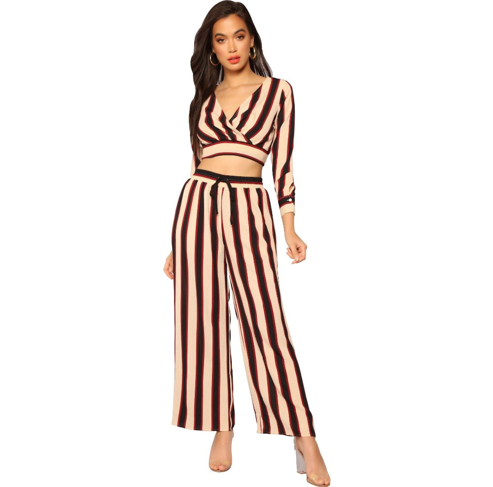 Contrast Color Vertical Stripes Print Women Set Casual Long Sleeve Sexy V Neck Crop Top With Wide Leg Pants Two Piece Set Female