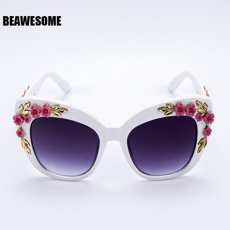 5ea3c3bd7e 2018 New Luxury Queen cat eye Sunglasses Women Rose Flower Vintage Girls  Oculos De Sol Oversize Brand Design Women Sunglass 9621