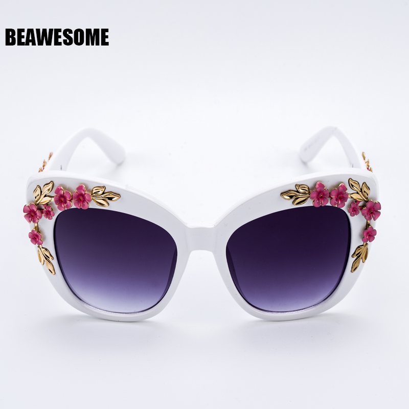 2018 New Luxury Queen cat eye Sunglasses Women Rose Flower Vintage Girls Oculos De Sol Oversize Brand Design Women Sunglass 9621