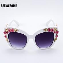 2018 New Luxury Queen cat eye Sunglasses Women Rose Flower V