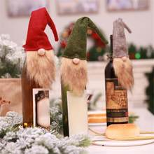 803a9daa38 Christmas Forest Old Man Long Beard Doll Wine Bottle Cover Champagne Cover  Christmas Dinner Party Table Decor