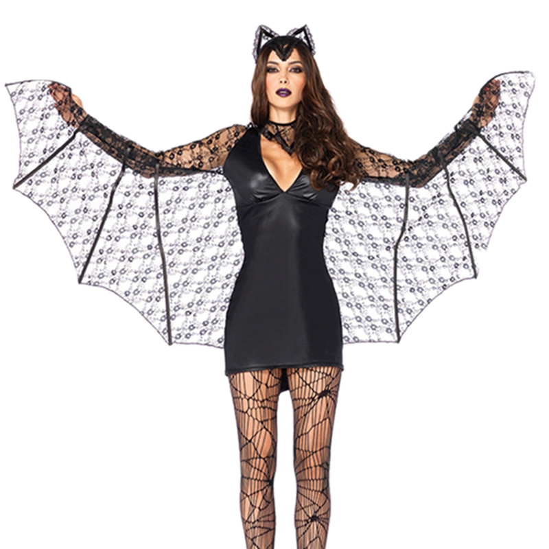 <font><b>Halloween</b></font> <font><b>Sexy</b></font> Cosplay Costumes Adult Demon <font><b>Dress</b></font> Vampire PU leather Uniform Lace Bat Cosplay Black Bat Wing Animal Role Play image