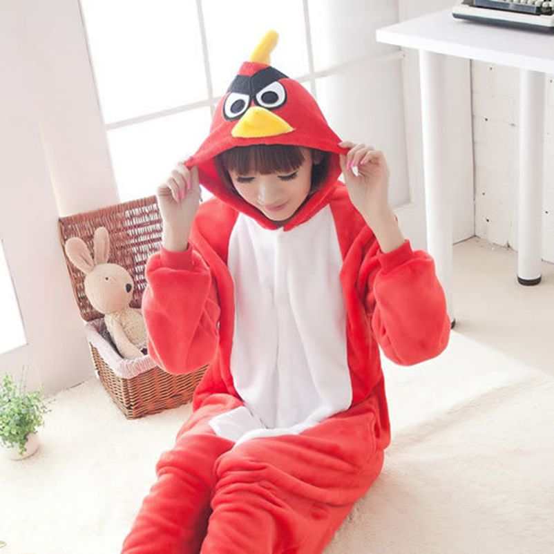 Red Bird Kigurumi Onesie Adult Women Animal Pajamas Suit Flannel Warm Soft Sleepwear Onepiece Winter Warm Pijama Cosplay