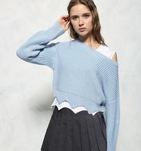 2016 runway fashion women's high quality wool cashmere knitted thick light blue short style Wavy edge jumper pullovers sweater