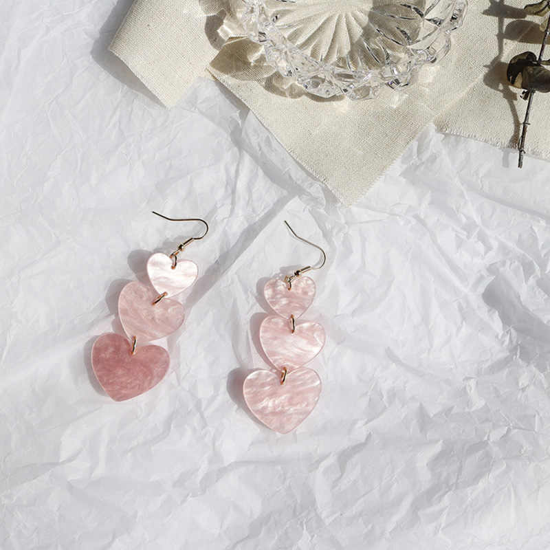 Romantic Pink Acrylic Long Dangle Earrings For Women Girl Jewelry Love Heart Korean Pendientes Drop Earrings 2019
