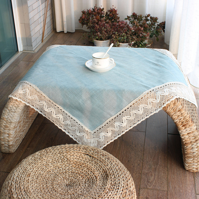 Simple European Blue Tablecloth Cotton Linen With Lace