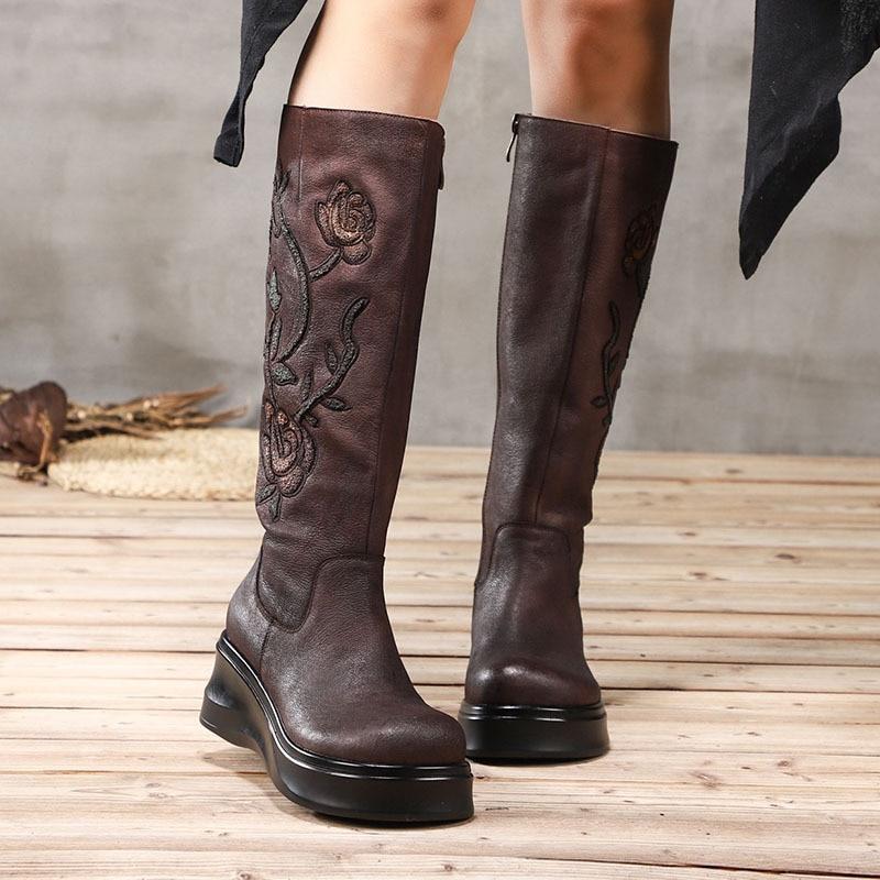 Artdiya 2018 New Autumn and Winter Thick Sole Genuine Leather Knee-high Boots Platform High Heels Flower Retro Women Boots цены онлайн
