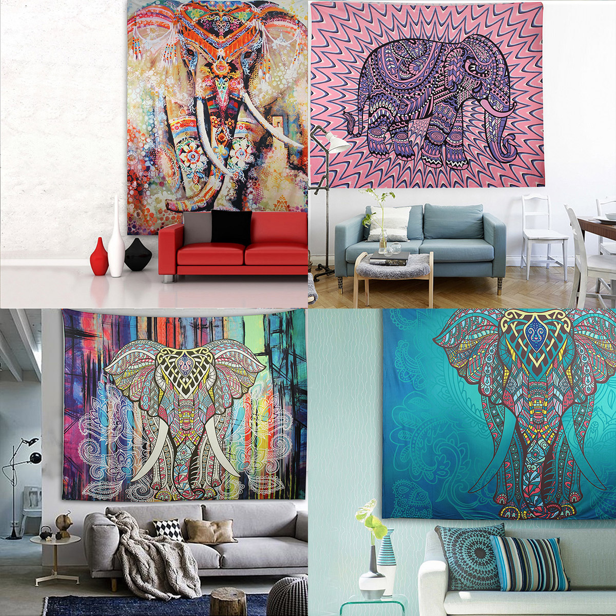 Elephant Mandala Tapestry Throw Towel Hippie Tapestry Floral Printed Home Decor Wall Tapestries Bedspread 210*150CM 1