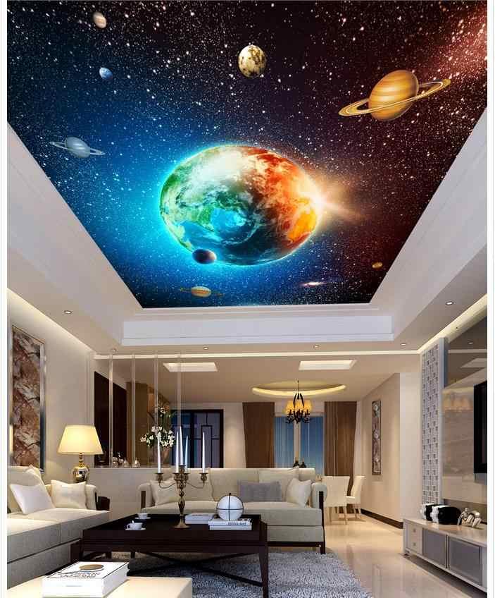 กระดาษparede muralวอลล์เปเปอร์เพดาน3dวอลล์เปเปอร์ที่ทันสมัยสำหรับห้องนั่งเล่นภาพจิตรกรรมฝาผนังเพดาน