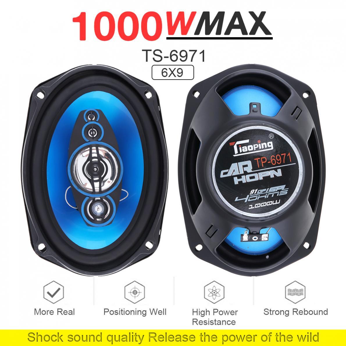 Car Loudspeaker,6x9in 1000W Pair of Auto Car HiFi Stereo Audio Coaxial Speakers Loudspeaker TP-6971 Blue Black