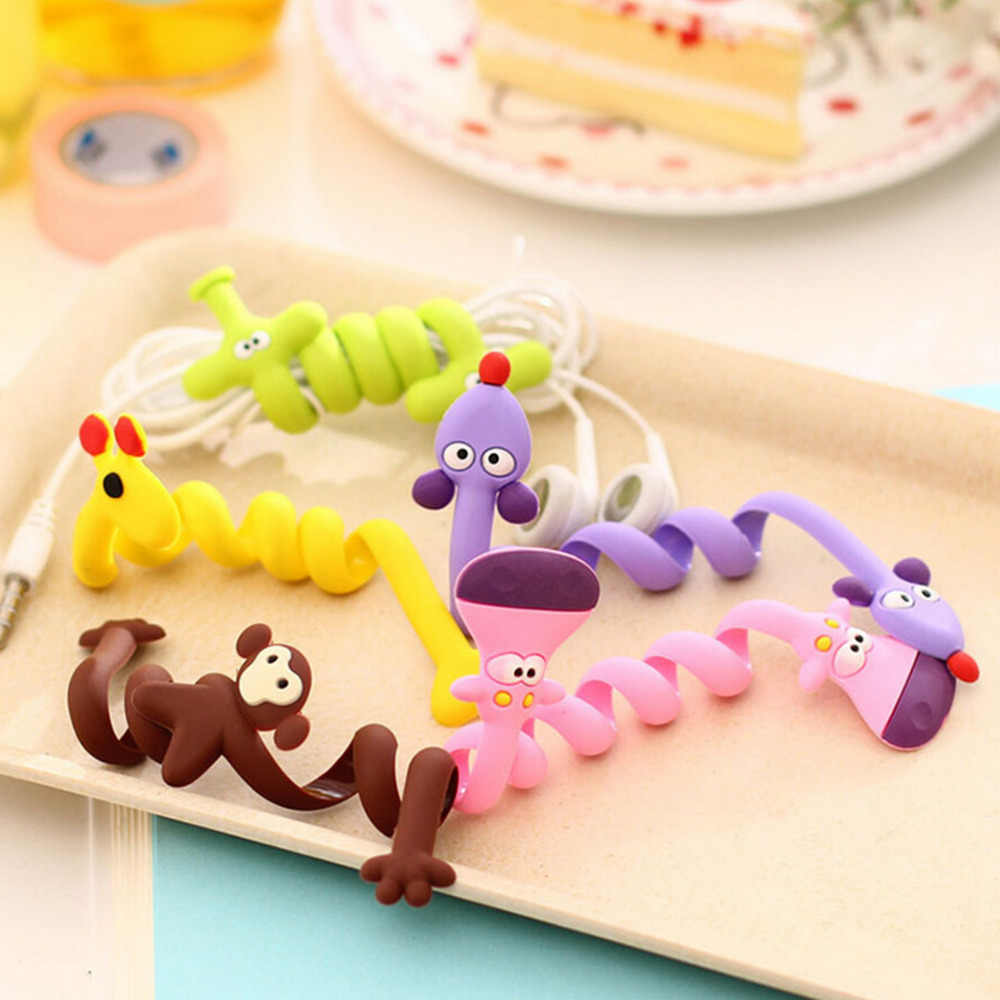 2PCS Cartoon Earphone Cable Wire Cord Organizer Holder Winder Solid Desk Set Wire Clip Organizer Office Accessories