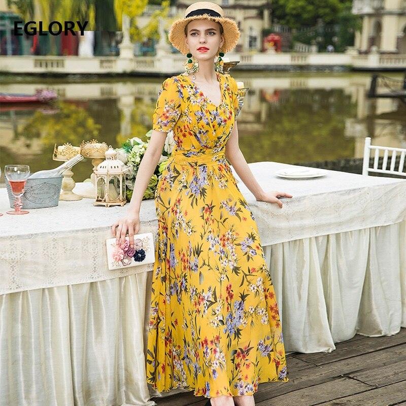 XXXL Women Long Summer Dress 2018 New Brand Female Clothing V-Neck Elegant Flower Print Short Sleeve Casual Maxi Dress Yellow
