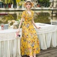 XXXL Women Long Summer Dress 2018 New Brand Female Clothing V Neck Elegant Flower Print Short Sleeve Casual Maxi Dress Yellow