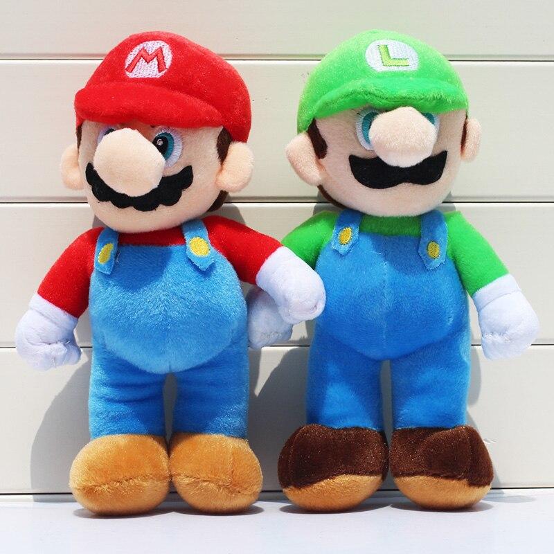 2 sztuk/partia 25cm super Mario bros pluszowe zabawki Mario Lugi wypchane lalki zabawki prezent dla dzieci