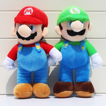 2pcs/lot 25cm Super Mario Bros Plush Toys Mario Lugi Stuffed Dolls Toys Gift for Children