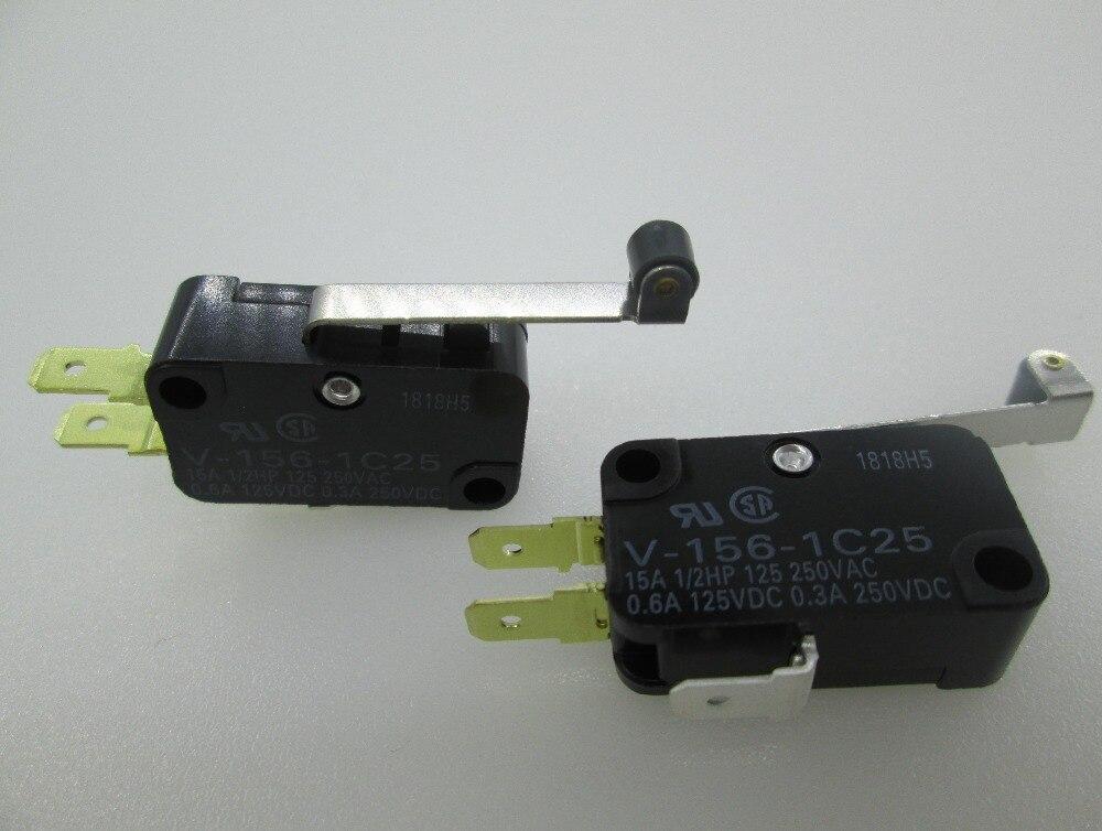 HOT NEW ball bearing type rocker Mro screw Travel switch Limit switch V-156-1C25 15A 250VAC 10pcs long straight hinge lever spdt micro limit switch v 153 1c25