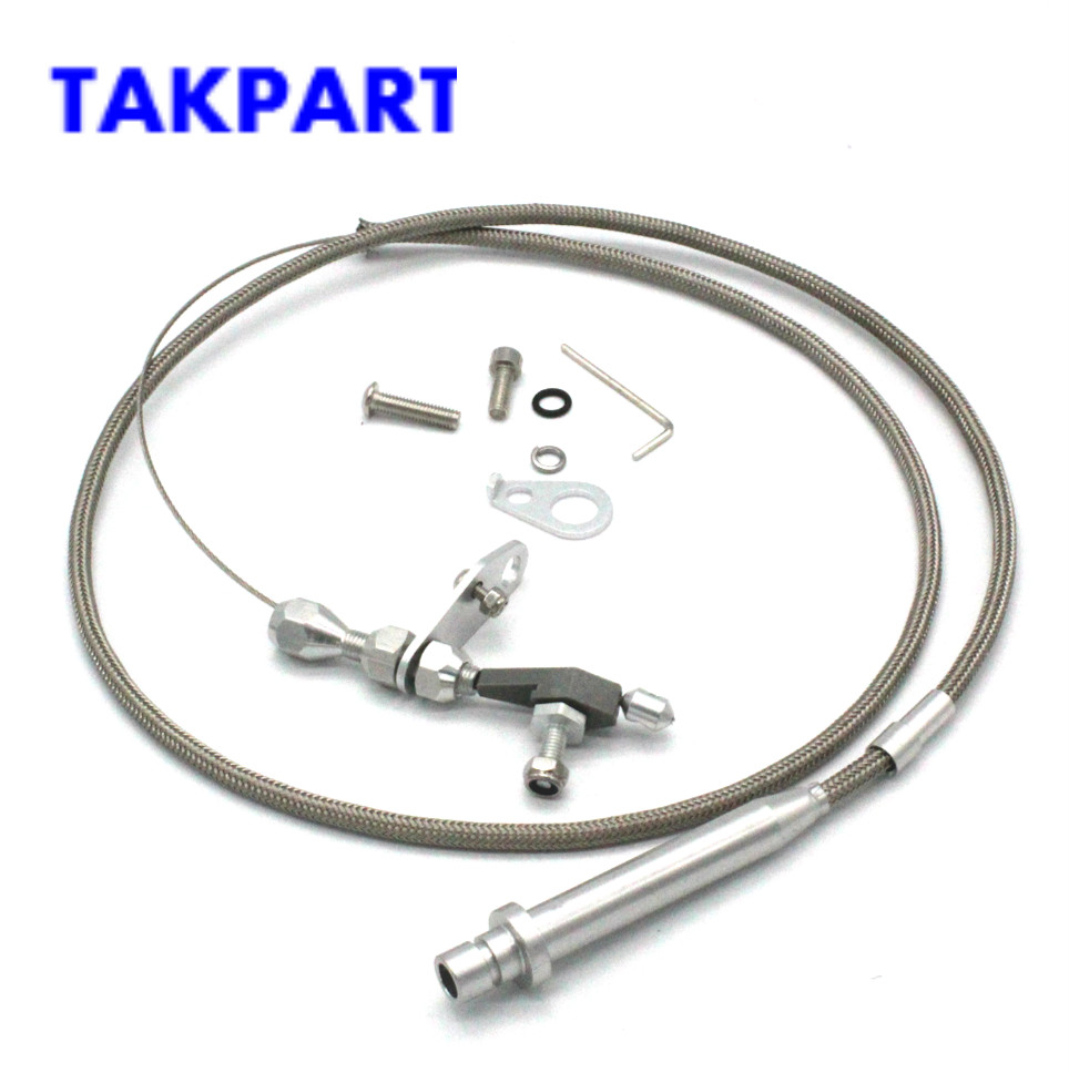 STAINLESS STEEL BRAIDED CHEVY GM SB TURBO TH-350 TRANSMISSION KICKDOWN CABLE KIT