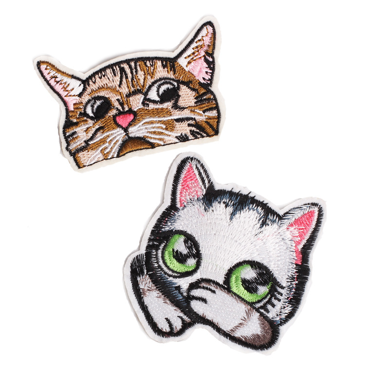 Anime Rainbow Cat Eye Emoji Patch Iron On Cartoon Sequin Patches For